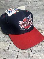 NWT Vintage 90s Rare NBA Houston Rockets Snapback Backscript Hat Logo 7 Red Blue