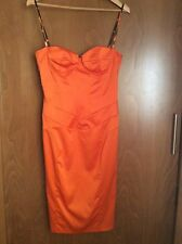 JUST CAVALLI PENCIL DRESS ORANGE LEOPARD ELASTIC SATIN MSRP €540
