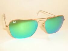 New RAY BAN Caravan Sunglasses Matte Gold Frame RB 3136 112/19 Green Mirror 55mm