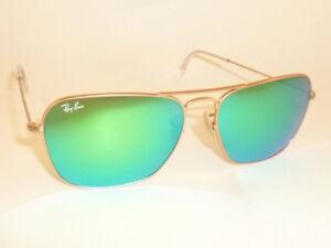 New RAY BAN Caravan Sunglasses Matte Gold Frame RB 3136 112/19 Green Mirror 58mm