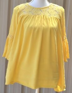 Size 8 Yellow Loose Flowing Peasant Smock Blouse Top Lace Inset