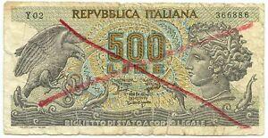 500 LIRE FALSO D'EPOCA BIGLIETTO DI STATO ARETUSA 20/06/1966 MB+