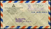 NICARAGUA REGISTERED COVER FROM PHILATELIC BUREAU TO VERMONT 1946