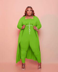 Plus Size Women Letter Printed Bandeau Bra Jumpsuits Long Sleeve Coat 2 Pcs Sets