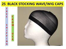 25 PIECES BLACK STOCKING WAVE WIG CAPS KNIT USA SHIPPER DURAG DOORAG BULK