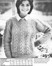 """#248 LADIES MOHAIR CABLE PANEL SWEATER 34-40"""" VINTAGE KNITTING PATTERN"""