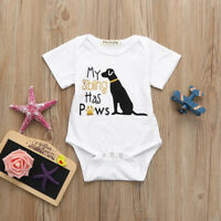 Newborn Baby Boy Girls Short Sleeve Romper Jumpsuit Bodysuit Outfits Clothes CP