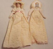 "Set 2 VTG Ornaments Dolls Porcelain Face Hanging Lace Long Dress 11"""