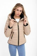 Womens Bubble Puffer Jacket Ladies Quilted Padded Coat Fur Collar Hood Thick Ma1 Stone UK (10) Medium