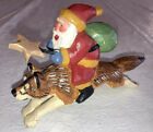 Susan M Smith Santa Claus Riding A Husky Dog Figure House Of Hatten