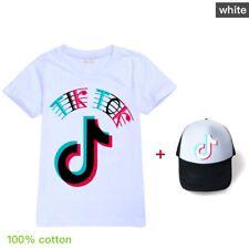 2Pcs/set Girls Tik Tok 100% Cotton Home Children T-Shirts + Hat Kids Gifts 2020
