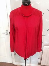"Bargain £9.99: Chic smart NEXT silky red lacy top, shirt, blouse, 8, Vgc, 27"" L"