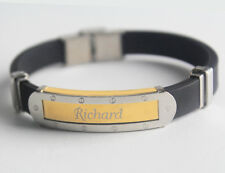 RICHARD - Bracelet With Name - Mens Silicone & Gold Tone Engraved - Gift For Him