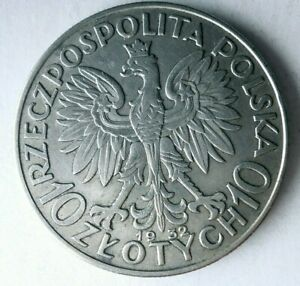 1932 POLAND 10 ZLOTYCH - AU - Incredible Silver Coin - HUGE VALUE - Lot #L23