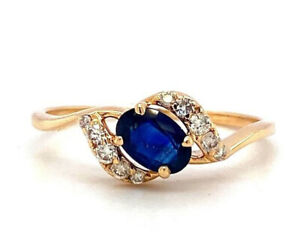 Handmade Natural Sapphire and Diamond Ring in 14K Yellow Gold - KGR 17052