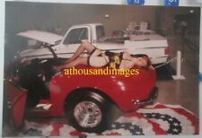 Photo Sexy Redhead Woman Lingerie Lays On Back Classic Vintage Red Corvette CJ53