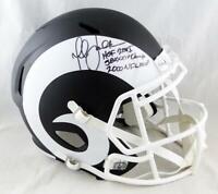 Marshall Faulk Signed LA Rams F/S Flat Black Speed Helmet- Beckett Auth *Black