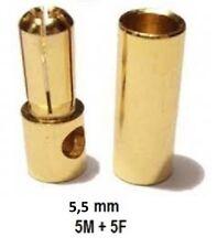 CONNETTORI DORATI 5,5mm MASCHIO / FEMMINA 5COPPIE-CONNECTORS 5,5mm M/F5PAIR