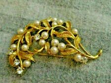 Vintage Napier Gold Faux Pearl & Rhinestone Pin New Old Stock Beautiful!