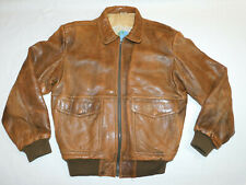 VINTAGE AXIOM FLIGHT BOMBER PILOT LEATHER JACKET 80'S TOP GUN LINED MEN'S L 40