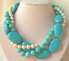 3Rows 7-8mm Natural White Pearl & Turquoise Jewelry Necklaces