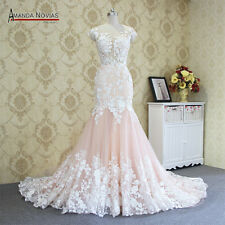 New lace white / pink Mermaid wedding dress Plus Size custom size 2-4-20-22+