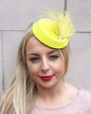 Yellow Silver Feather Pillbox Hat Hair Fascinator Races Wedding Clip Vtg 3964