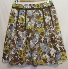 KATE SYLVESTER ~ 50's Look White Blue Green Floral Cotton Box Pleat Skirt 12