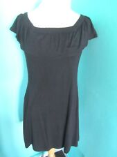 ATMOSPHERE OFF THE SHOULDER BLACK DRESS SHORT SLEEVE ELASTICATED NECK SIZE 8