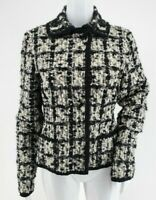Escada Textured Tweed Blazer Jacket Black Silver Ivory Wool Blend Women's 38