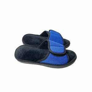 Isotoner Black Terry Blue Mesh Slides XL 9.5-10 Slippers Casual Comfort Cozy