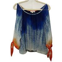 Womens John Paul Richard Boho Blouse Cold Shoulder 3/4 Sleeve Top Size Medium