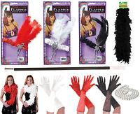 Ladies Girls 1920s Flapper Charleston Gloves Boas Headband Gangster Fancy Dress