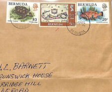BT17 1990 Bermuda Wildlife Commercial Usage $3 GREEN TURTLE Air Mail Cover FISH