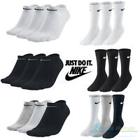 Nike Socks 3 Pairs Mens Womens Crew Ankle Liner Cotton Sports Socks Size UK 2-14