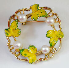 Vintage Gerry's Faux Pearl Enamel Leaf Brooche Pin Gold Tone