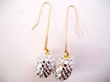 OVAL CRYSTAL CLUSTER DISCO MIRROR BALL DROP DANGLES
