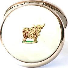 Compact Handbag Mirror Bull Cow Enamel Farming Ideal Ladies Gift Engraving