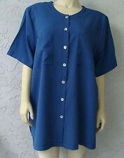KATHIE LEE Woman Blue Pin Stripe Blouse 2 Pockets Short Sleeve Poly Rayon Sz 42