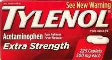 TYLENOL EXTRA STRENGTH 225 TABLETS  500 mg ACETAMINOPHEN PAIN RELIEVER EX 09/18+