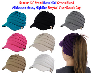 CC BeanieTail Cotton Blend All Season Messy High Bun Ponytail Visor Beanie Cap