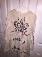 VELZERA Womens Peplum Peasant Top Ivory Long Sleeve Embroidered Flowers Boho M