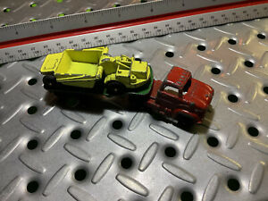 1967 Tootsie Toy Tractor Trailer Flatbed W/Earth Mover