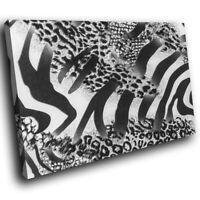 A416 Black Leopard Zebra Fur Funky Animal Canvas Wall Art Large Picture Prints