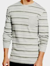 Men's Volcom Abbub Striped Thermal Long Sleeve Shirt Size M Cement Grey Su/5