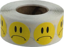 Yellow Sad Frowny Face Circle Dot Stickers, 3/4 Inch Round Labels, 500 Total