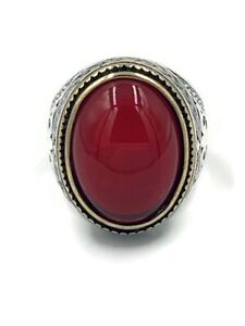 Handmade Natural Red Agate Stone Sterling Silver 925 Men's Ring Size 8.5