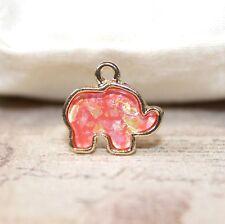 Cute imitation opal gold elephant charms x3