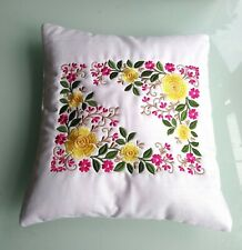 """Beautiful Floral Embroidered Cushion Small 11.5"""" x 11"""" Gift"""