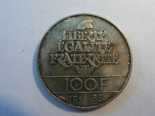 100 FRANCS Fraternité 1988 argent 30 mm  14 ,9 gr  SUP +